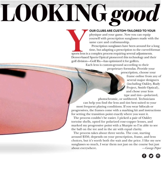 Links Magazine reviews Golf Rx custom eyewear.